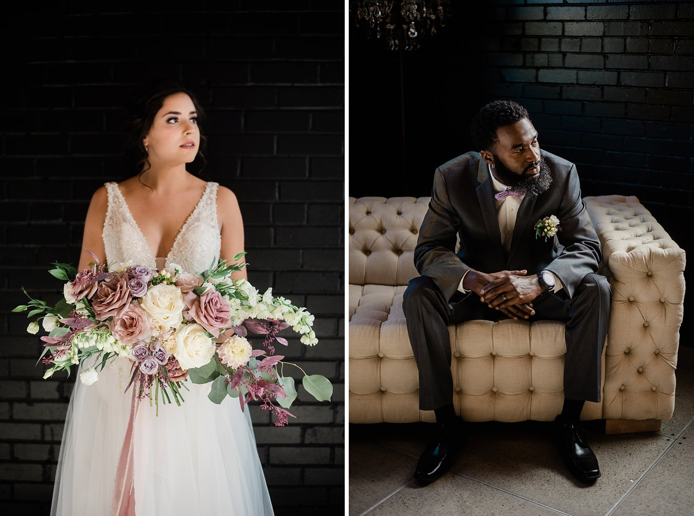 bride with large bridal bouquet and groom in grey suit on ivory couch at Shyft Denver wedding by Denver wedding photographer Jennie Crate photographer
