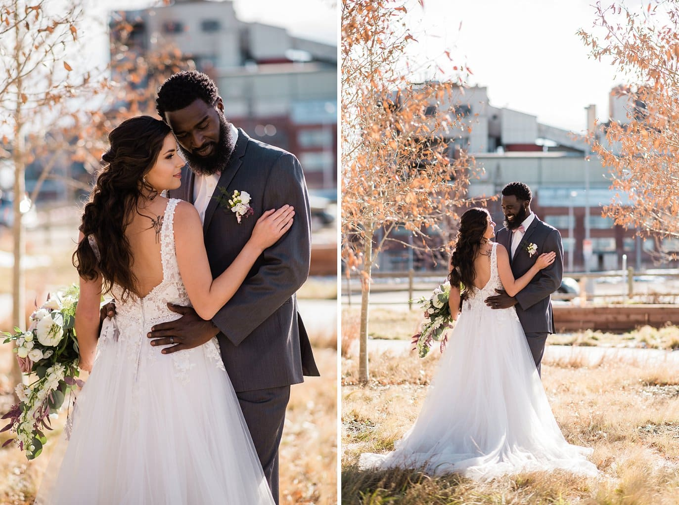 bride and groom romantic fall photo in sunny trees at Shyft Denver wedding by Denver wedding photographer Jennie Crate photographer