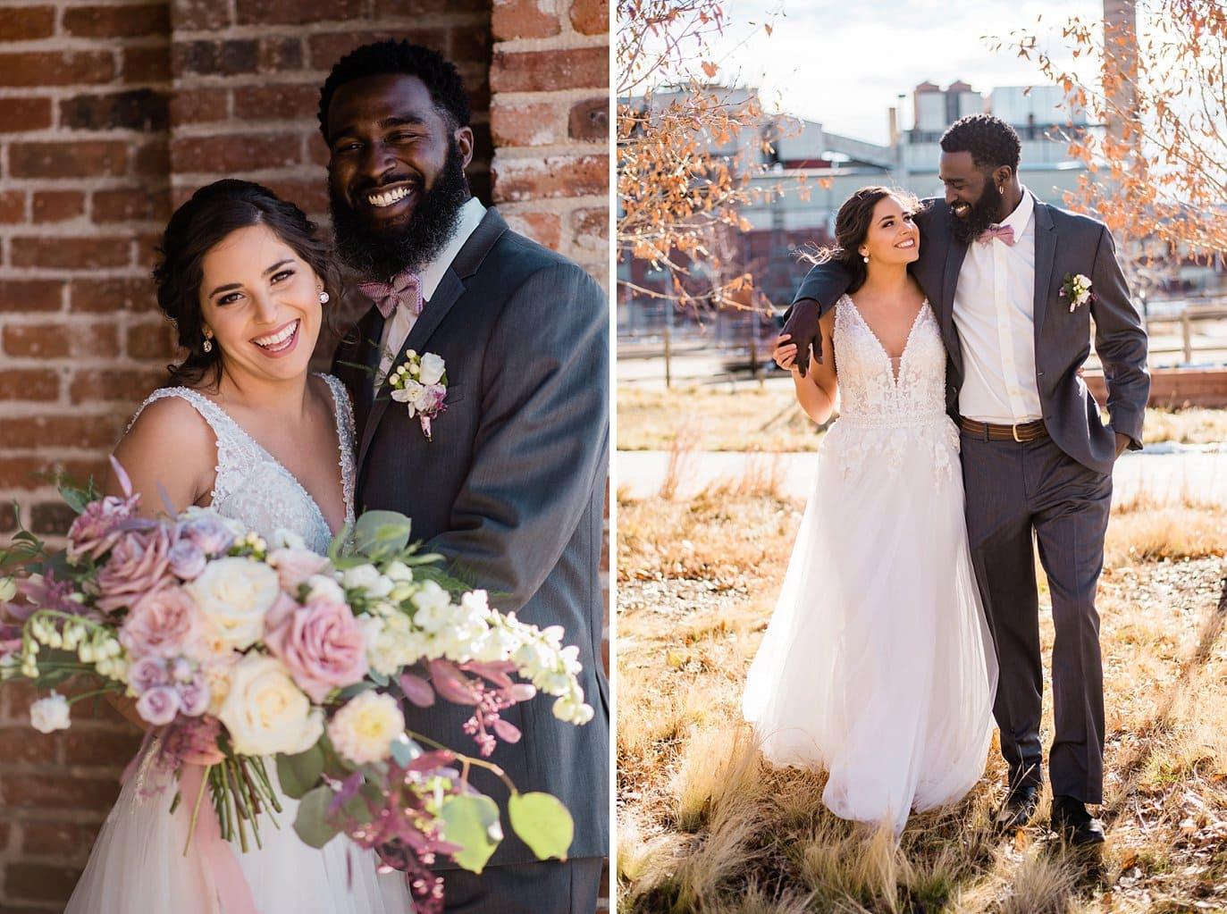 bride and groom in industrial Denver space at Shyft Denver wedding by Boulder Wedding photographer Jennie Crate photographer