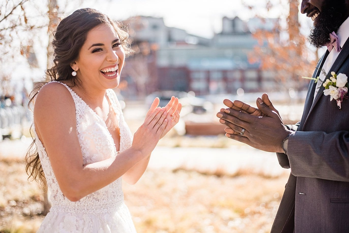 bride and groom playing games at Shyft Denver wedding by Boulder Wedding photographer Jennie Crate photographer