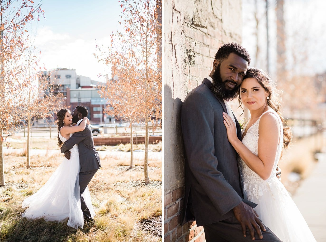 bride and groom outdoor industrial portraits by STEAM on the Platte at Shyft Denver wedding by Boulder Wedding photographer Jennie Crate photographer