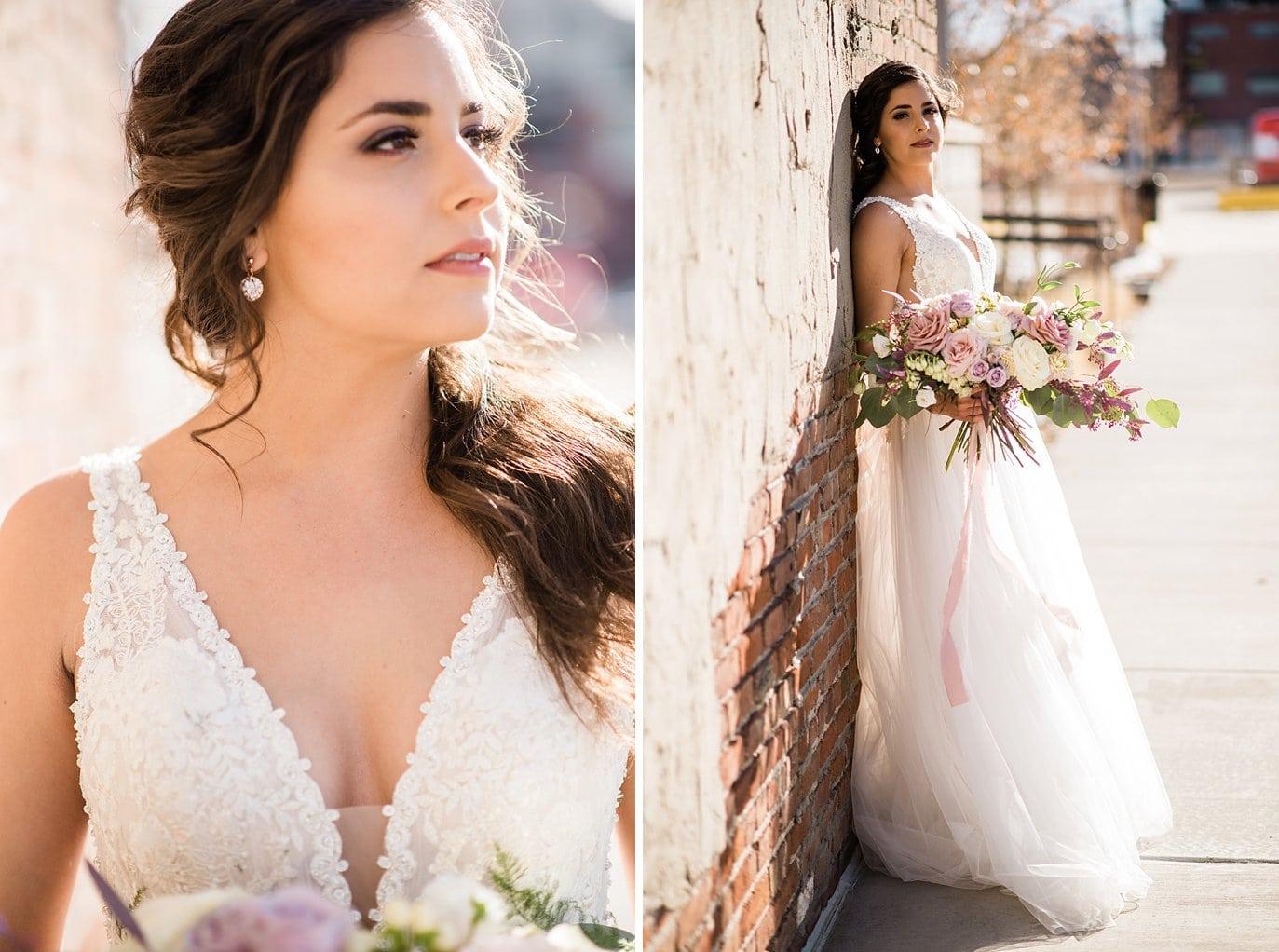 bride in beaded v-neck dress with soft half up bridal updo at Shyft Denver wedding by Boulder Wedding photographer Jennie Crate photographer