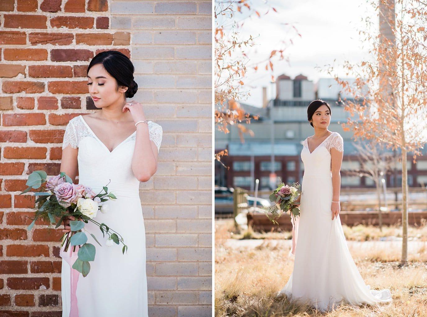 bride in sleek classy wedding dress by brick wall at Shyft Denver wedding by Boulder Wedding photographer Jennie Crate photographer