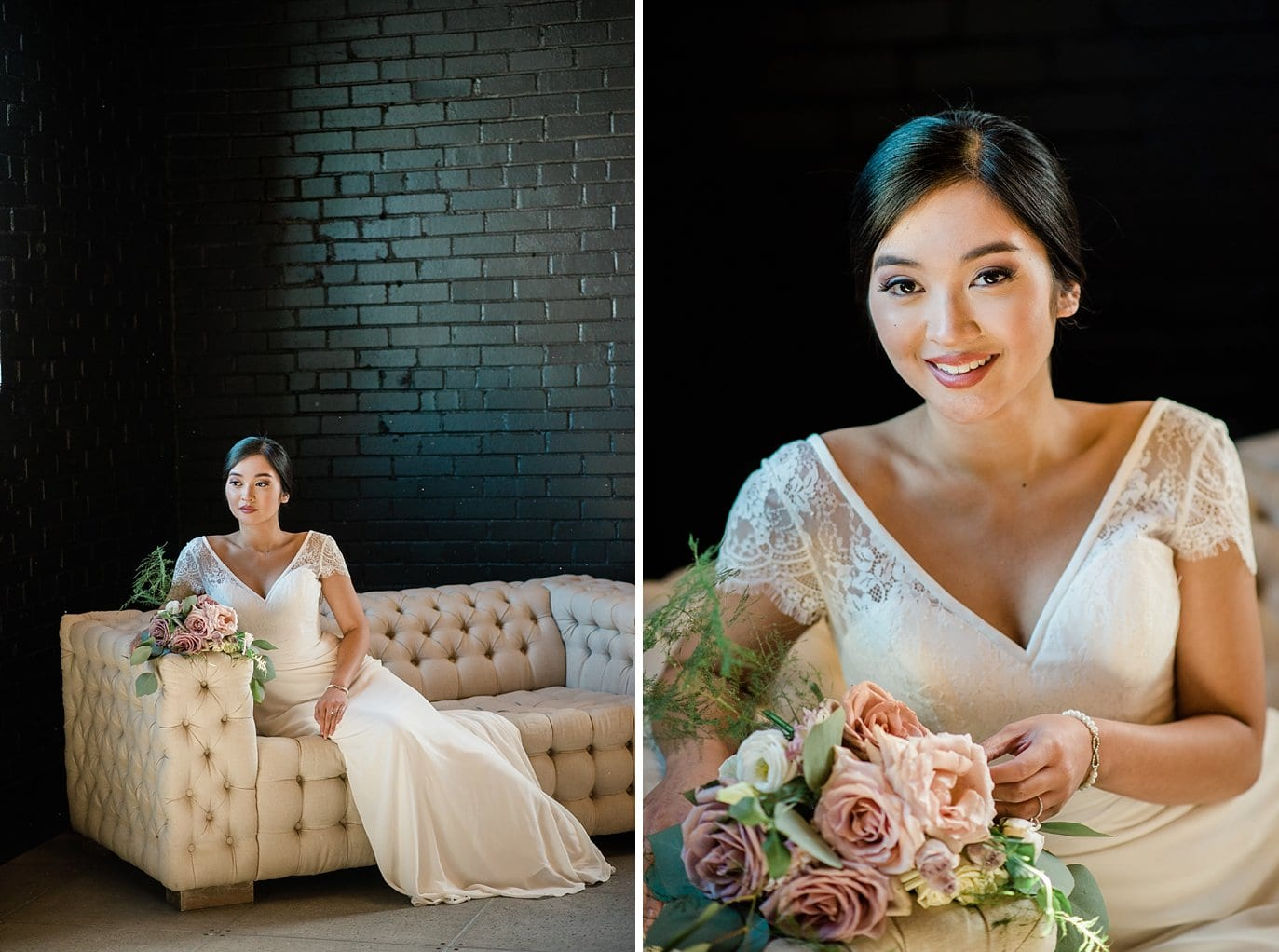 bride in lace and chiffon wedding dress on ivory couch in front of black wall at Shyft Denver wedding by Lyons wedding photographer Jennie Crate