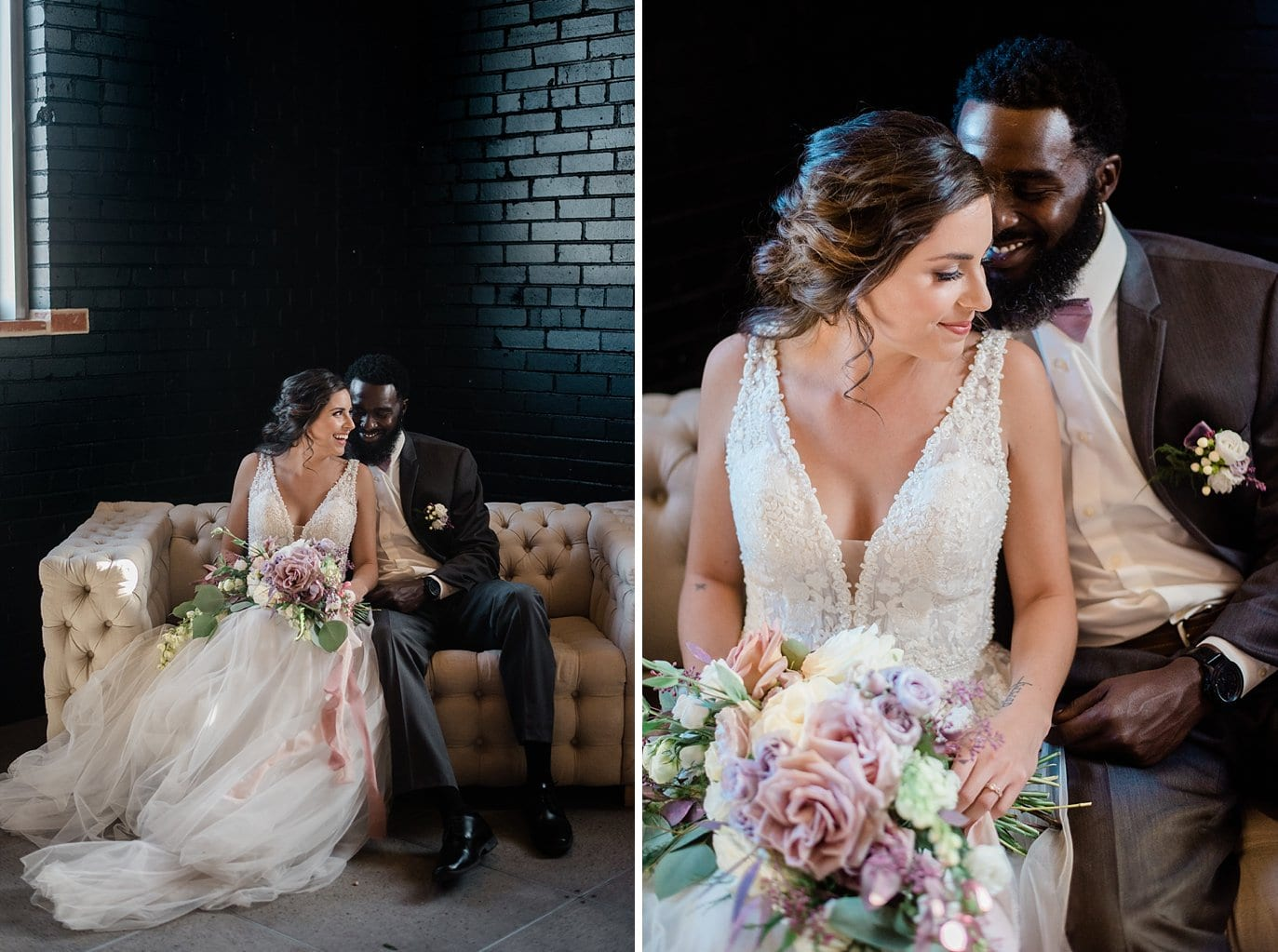 bride in beaded and tulle sexy wedding dress and groom in grey suit on white couch in front of black wall at Shyft Denver wedding by Lyons wedding photographer Jennie Crate