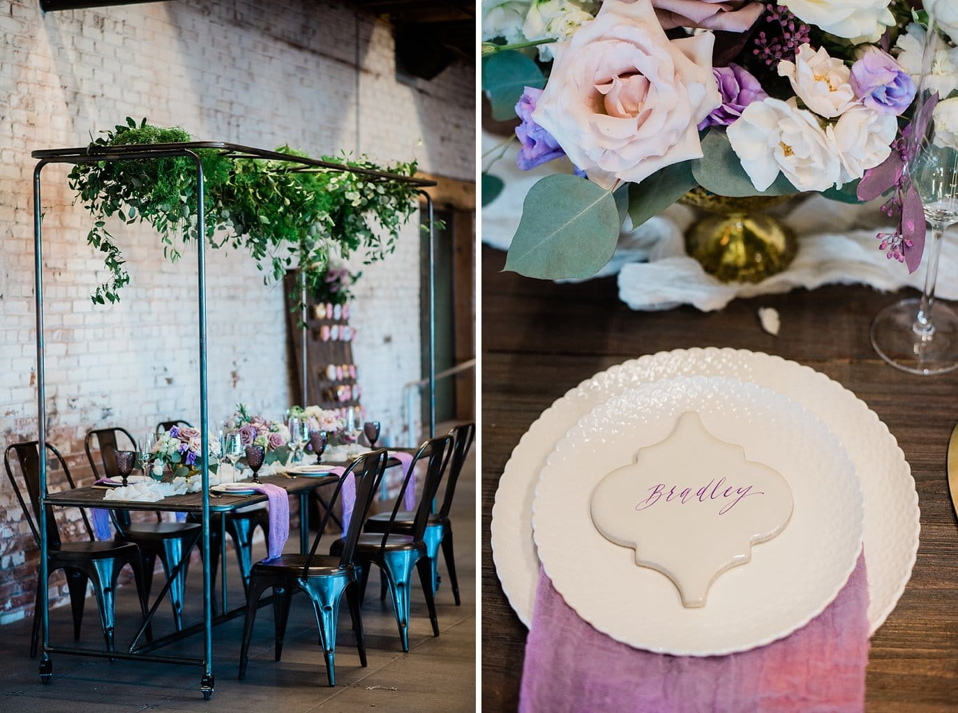 antique metal head table with hanging greenery and metal chairs at Shyft Denver wedding by Lyons wedding photographer Jennie Crate