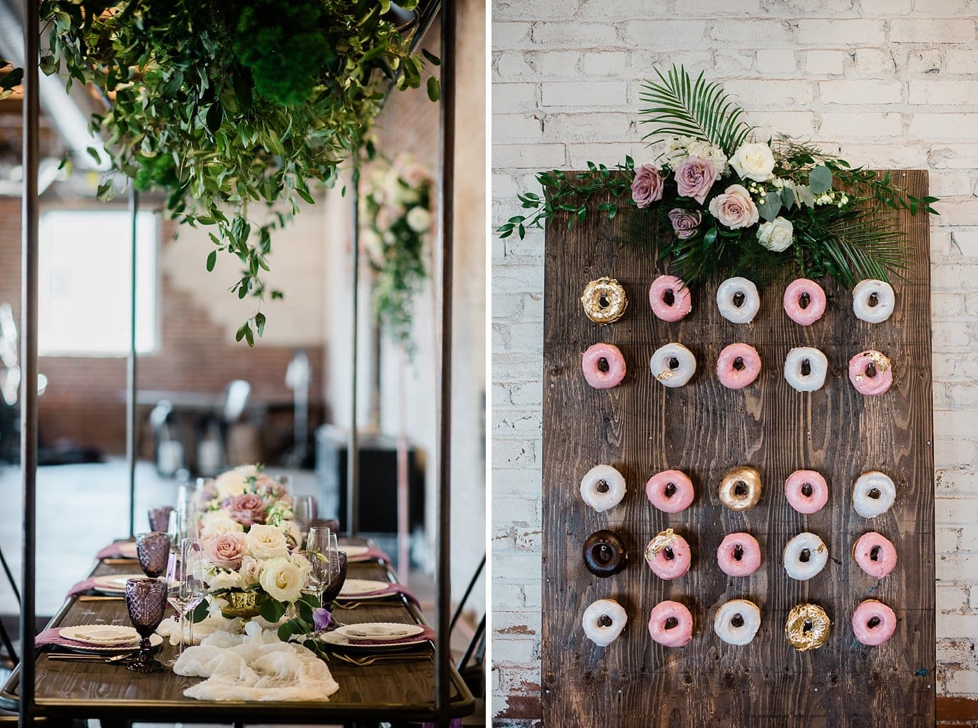 hanging greenery on head wedding table and standing donut wall at Shyft Denver wedding by Lyons wedding photographer Jennie Crate