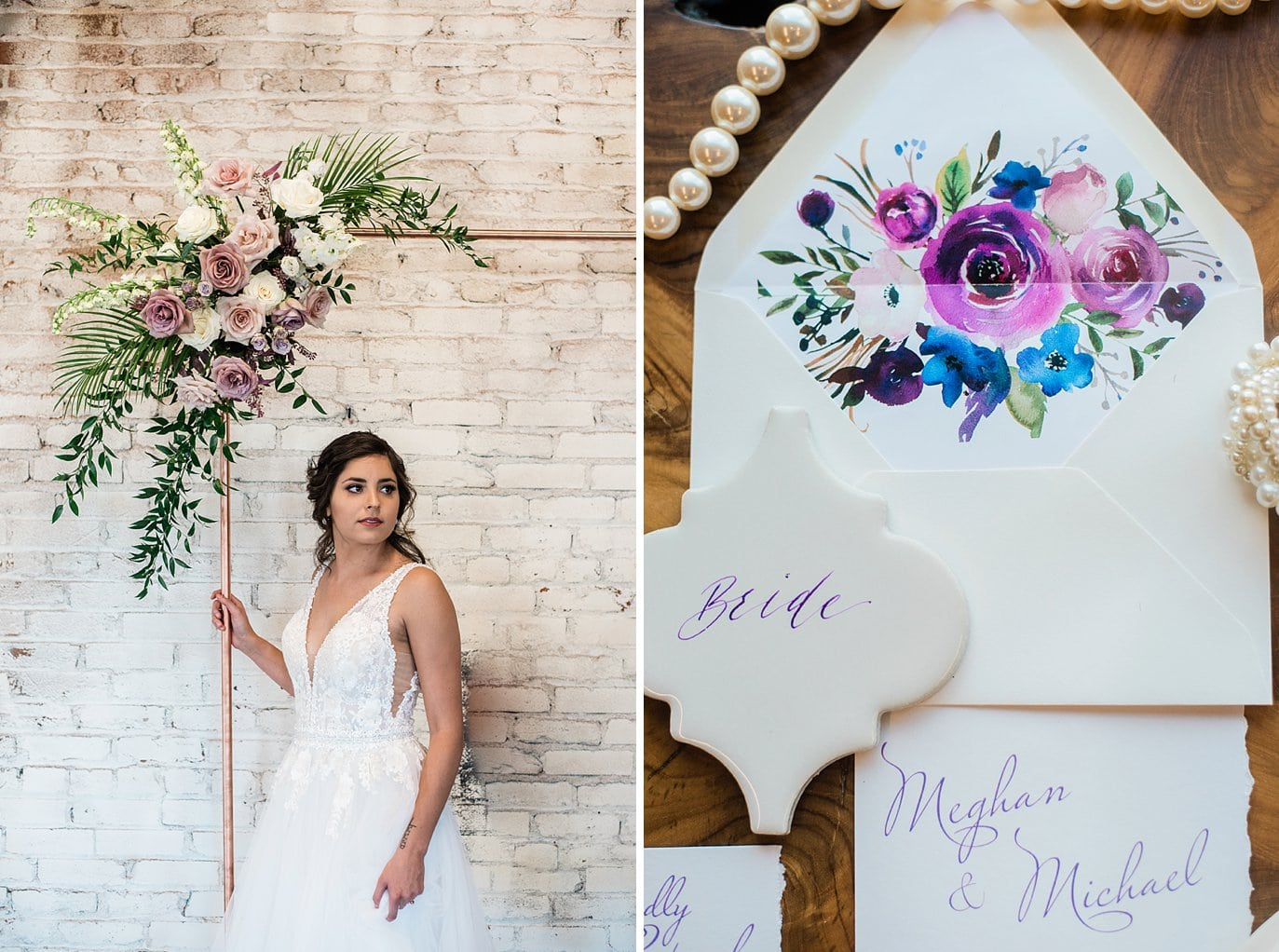 bride by copper pipe ceremony arch and watercolor invitation suite at Shyft Denver wedding by Lyons wedding photographer Jennie Crate