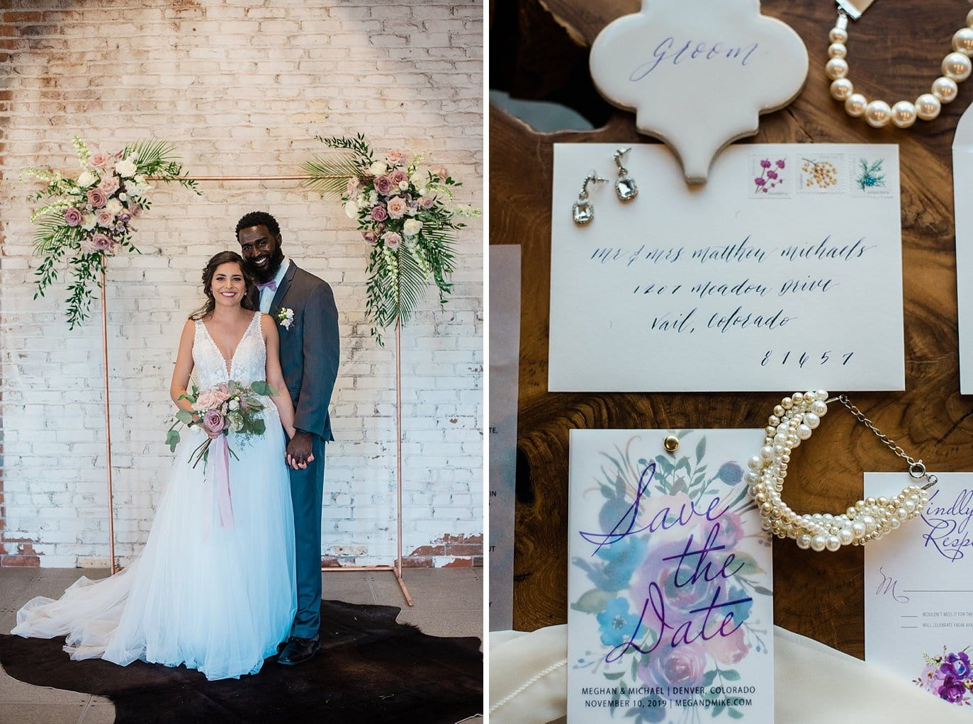 bride and groom by copper pipe ceremony arch with hides on ground plus water colored invitation set and wedding jewelry at Shyft Denver wedding by Lyons wedding photographer Jennie Crate