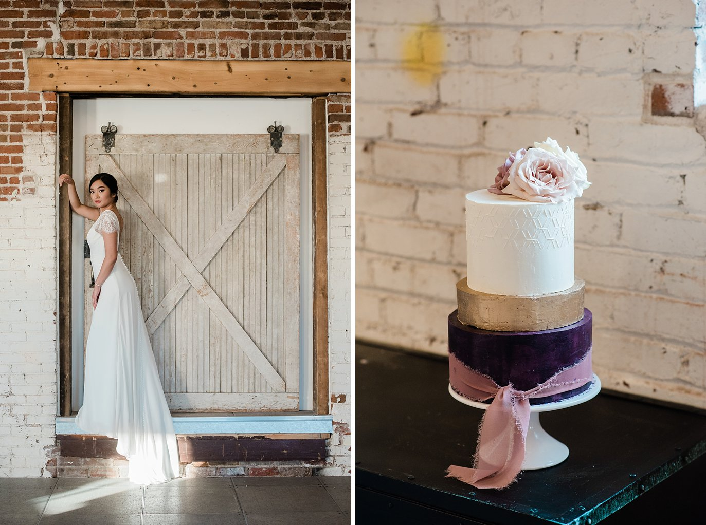 bride posing by sliding barn door at Shyft Denver wedding by Lyons wedding photographer Jennie Crate