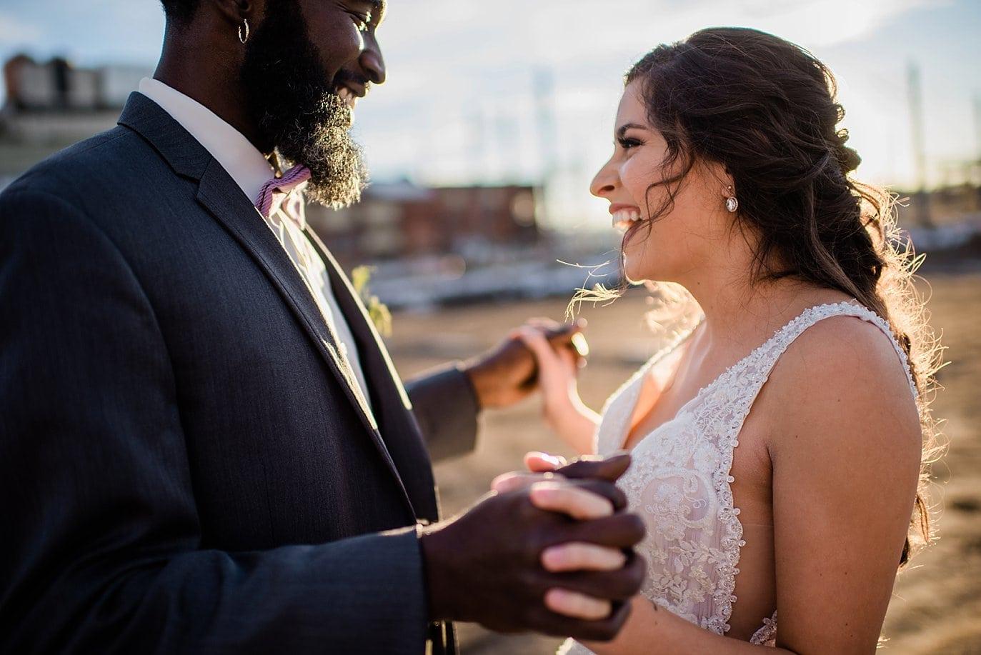 bride and groom sunset portrait at Shyft Denver wedding by Aurora wedding photographer Jennie Crate photographer