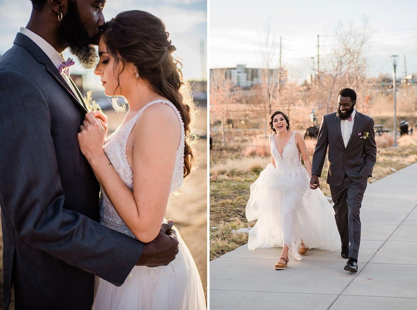 romantic sunset bride and groom photo at Shyft Denver wedding by Aurora wedding photographer Jennie Crate photographer