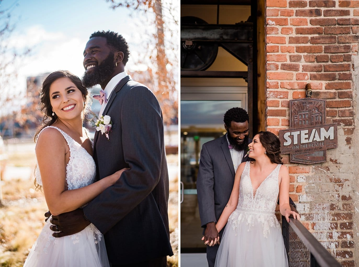 bride and groom in front of STEAM on the Platte industrial building at Shyft Denver wedding by Aurora wedding photographer Jennie Crate photographer
