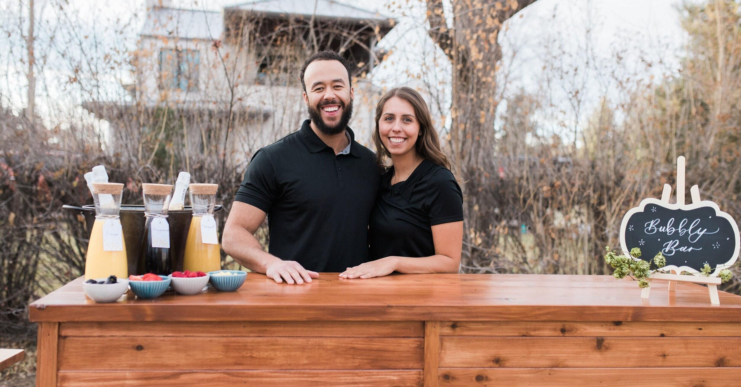 Wandering Wagon Bars co-owners Forest Lloyd and Cassie Lopez mobile bartending