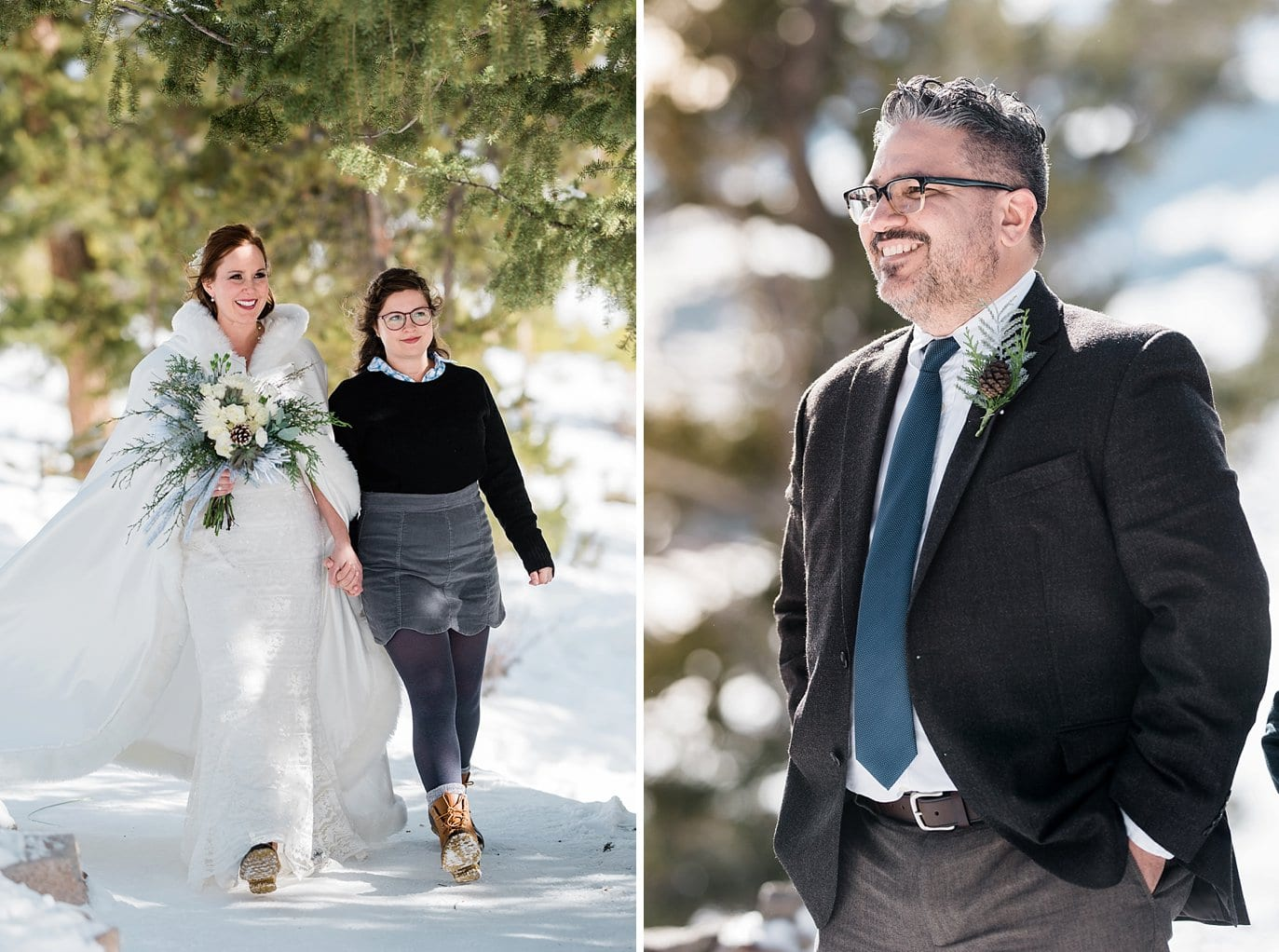 Bride and daughter walk to groom at Sapphire Point Elopement by Vail wedding photographer Jennie Crate Photographer