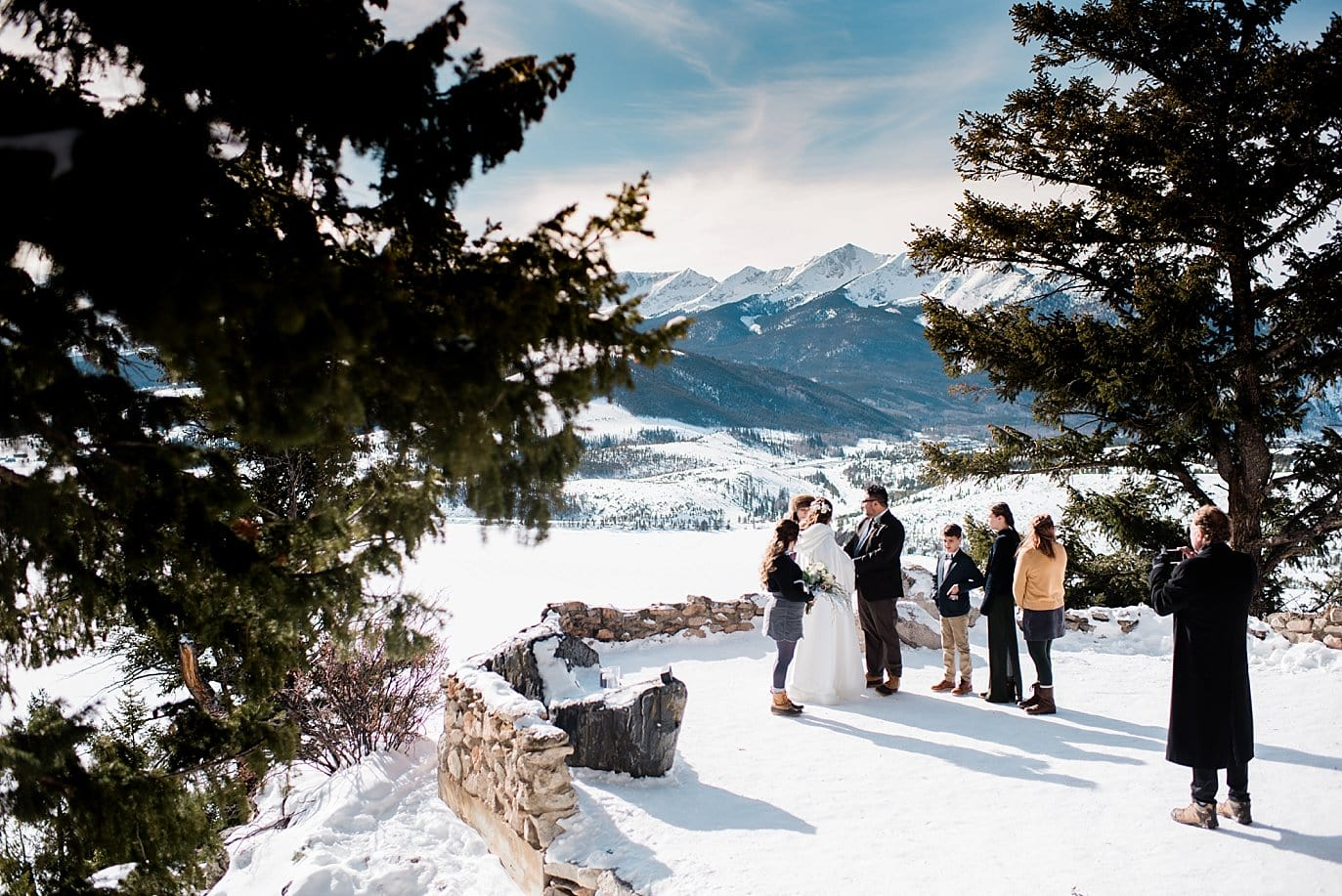 Intimate family wedding ceremony at Sapphire Point Elopement by Vail wedding photographer Jennie Crate Photographer