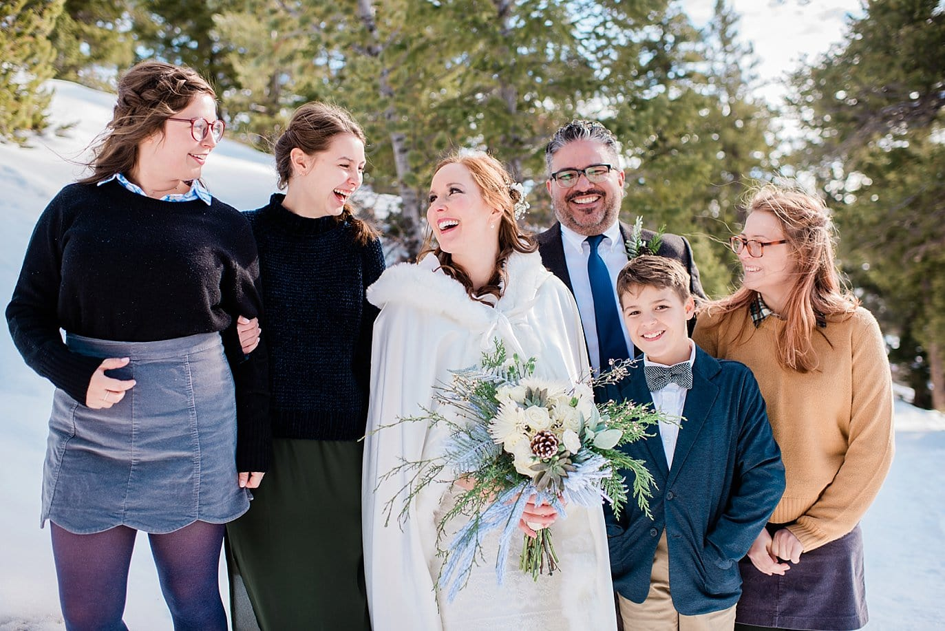 bride and groom and kids at Sapphire Point Elopement by Dillon wedding photographer Jennie Crate Photographer