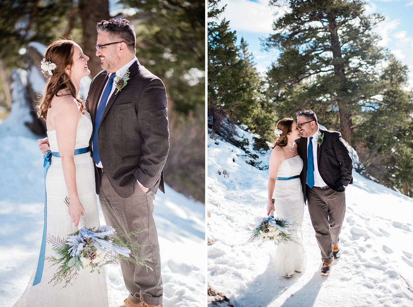 Bride in lace dress with blue sash and groom in snow at winter Sapphire Point Elopement by Keystone wedding photographer Jennie Crate Photographer