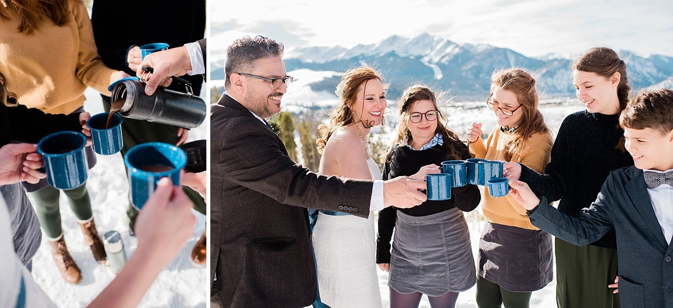 family toasts with hot chocolate in blue mugs at Sapphire Point Elopement by Vail wedding photographer Jennie Crate Photographer