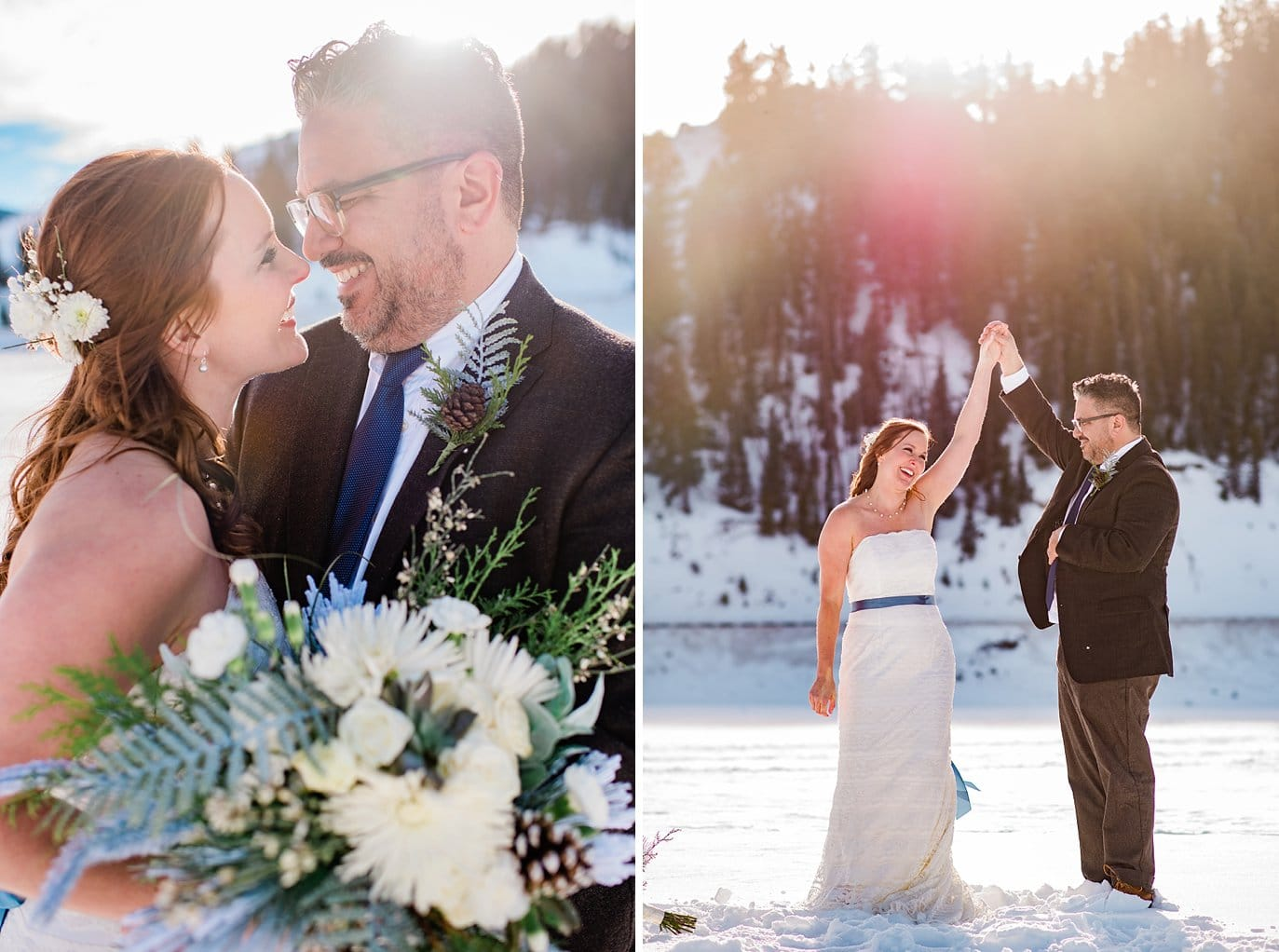 bride and groom dance on frozen lake dillon at Sapphire Point winter Elopement by Vail wedding photographer Jennie Crate Photographer