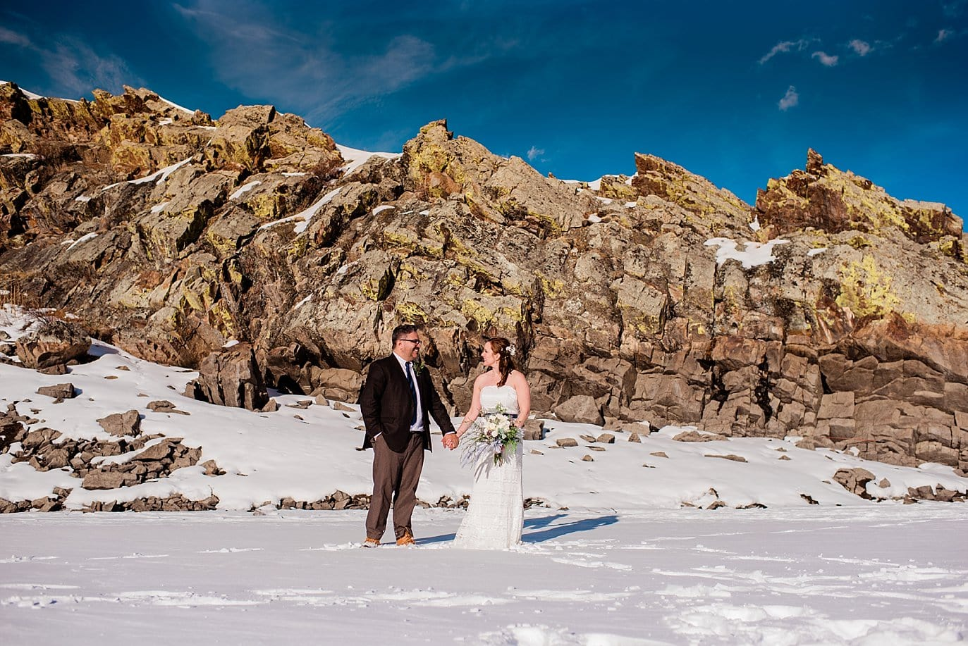 bride and groom bluebird colorado wedding day at Sapphire Point Elopement by Vail wedding photographer Jennie Crate Photographer