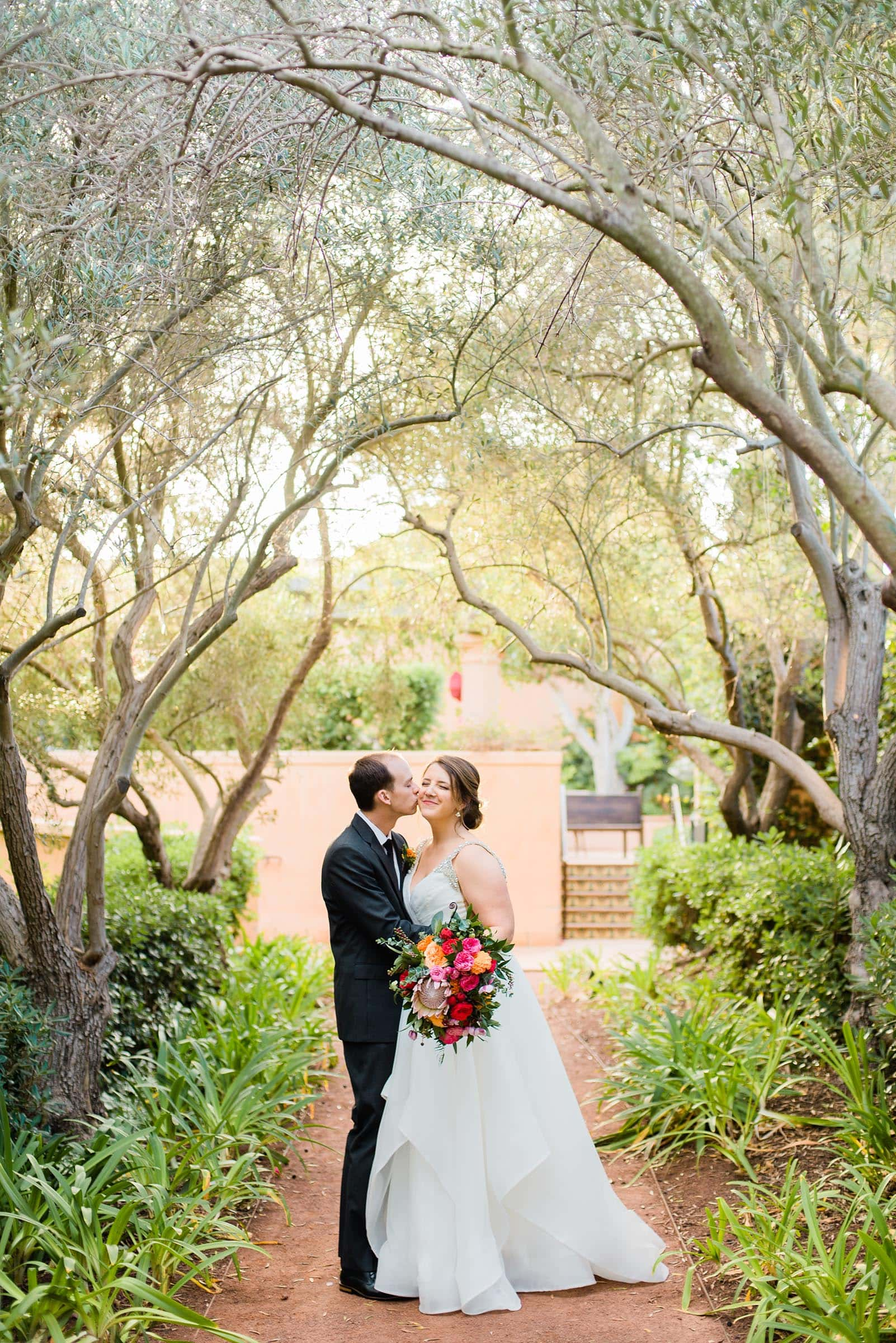 bride and groom in olive groves at Rancho Valencia wedding by Colorado Wedding Photographer Jennie Crate