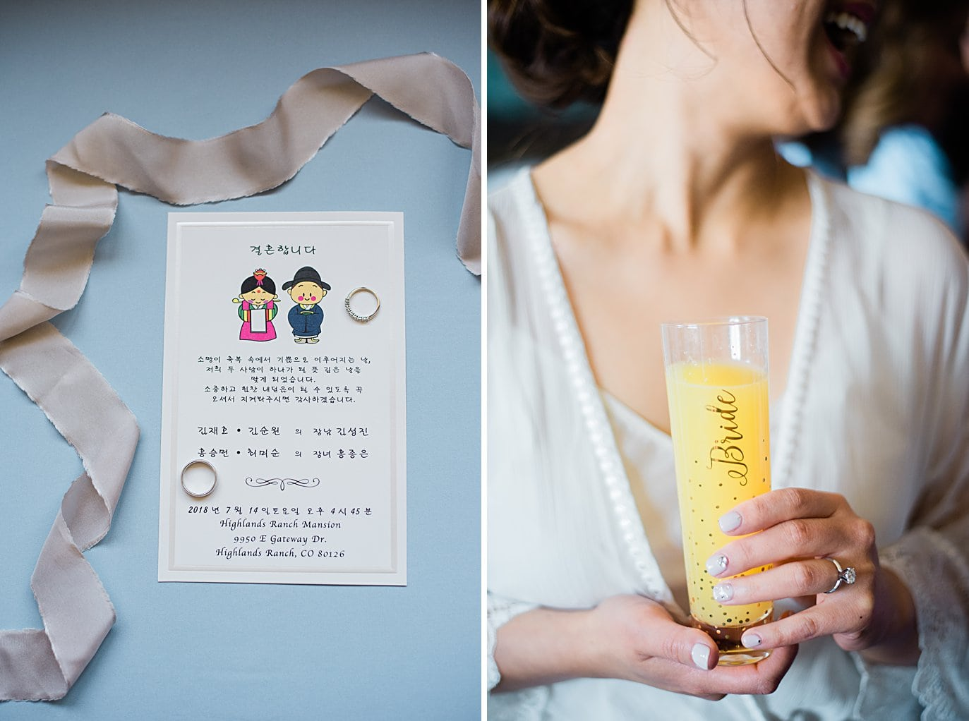 bride holding mimosa glass and korean wedding invitation at Highlands Ranch Mansion Wedding by Golden wedding photographer Jennie Crate