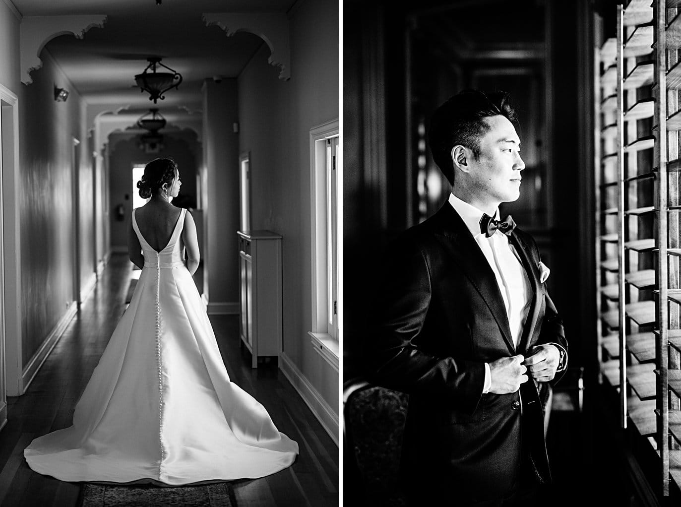 groom and bride dressed by window at Highlands Ranch Mansion wedding by Denver wedding photographer Jennie Crate