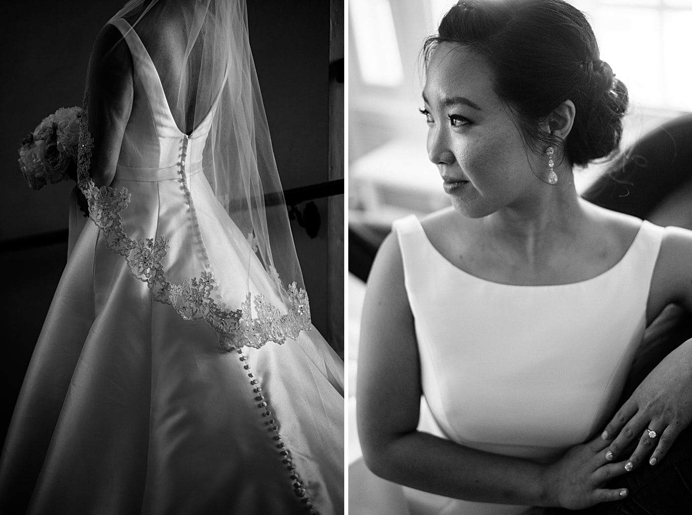 bride by window with classic ballgown wedding dress and lace veil at Highlands Ranch Mansion wedding by Golden wedding photographer Jennie Crate