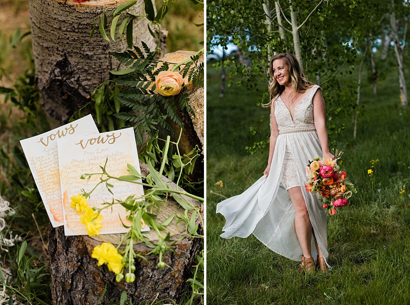 bride twirls in short and long wedding dress at private Golden elopement by Boulder wedding photographer Jennie Crate