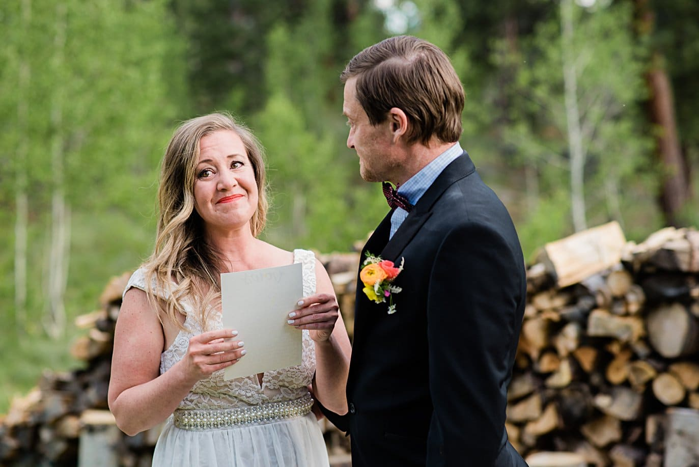 bride cries during vows at private property Golden elopement by Golden wedding photographer Jennie Crate