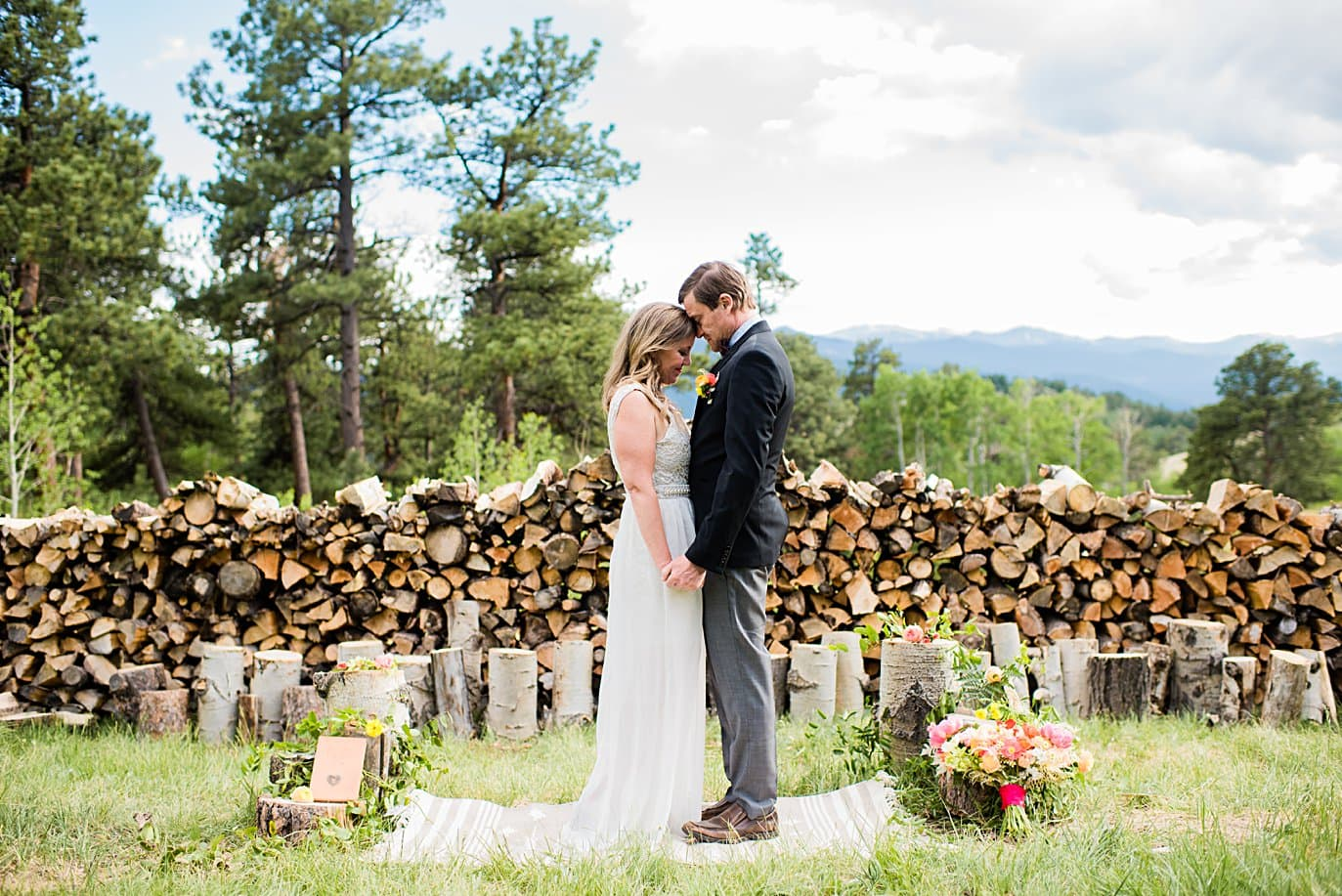bride and groom share emotional moment after ceremony at private property Golden elopement by Golden wedding photographer Jennie Crate
