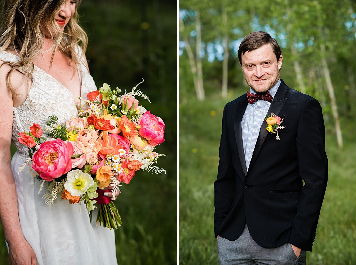 colorful and vibrant wedding bouquet at private Golden elopement by Boulder wedding photographer Jennie Crate