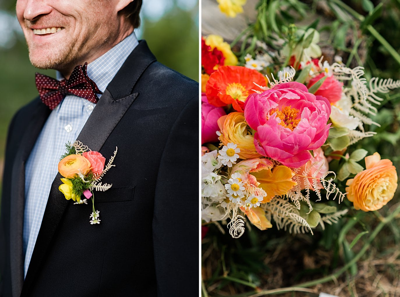 colorful and vibrant wedding bouquet and boutonniere at private Golden elopement by Boulder elopement photographer Jennie Crate