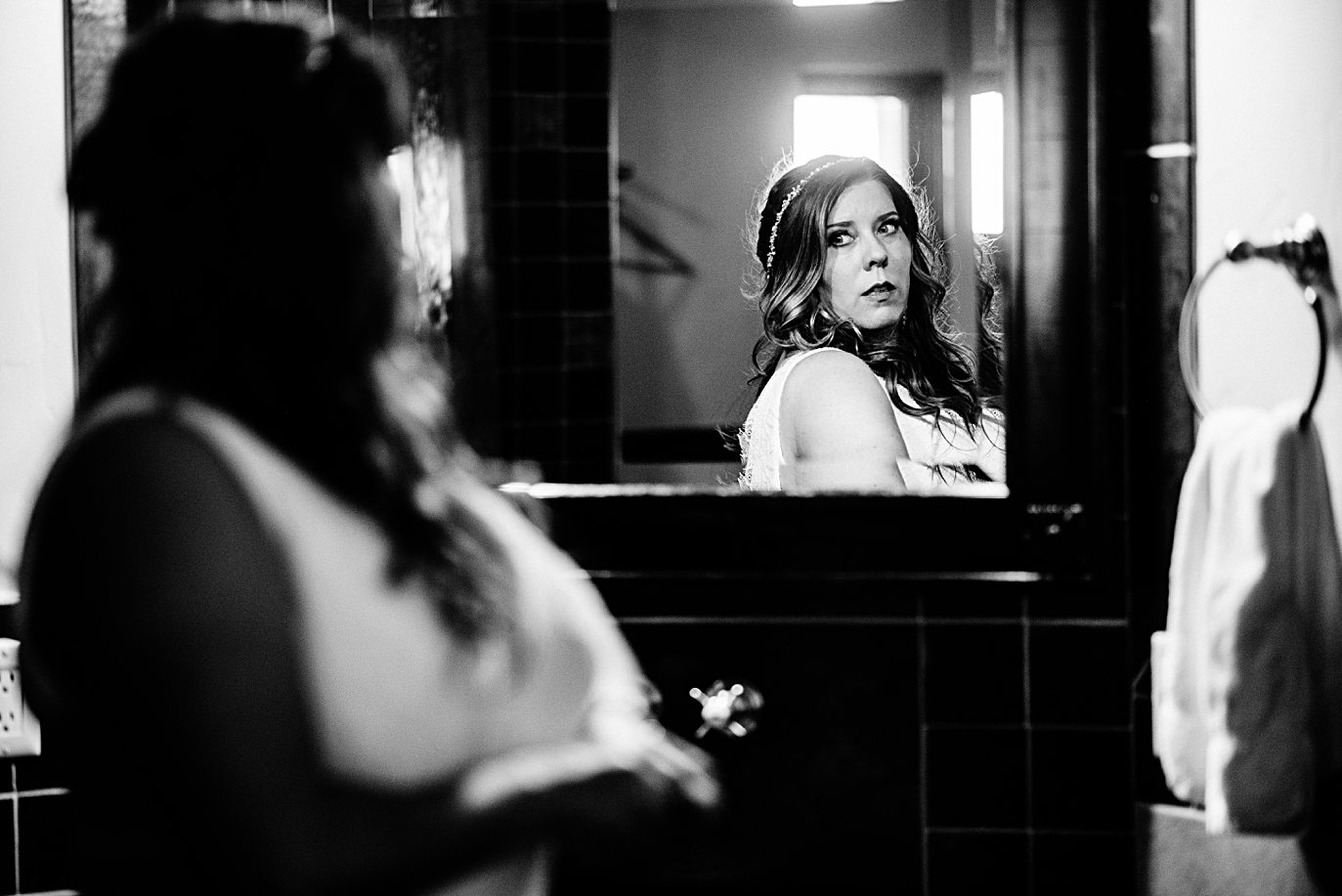 bride final look in the mirror at Lily Lake Elopement by Estes Park elopement photographer Jennie Crate