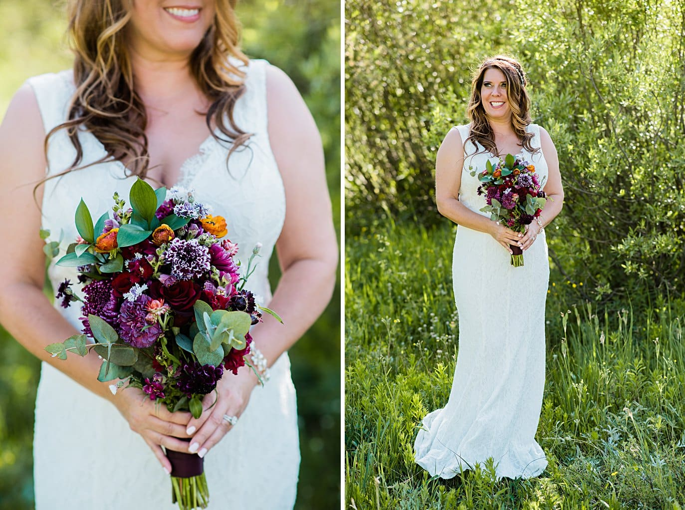 bride with colorful purple wildflower bouquet at Lily Lake Elopement by Estes Park elopement photographer Jennie Crate
