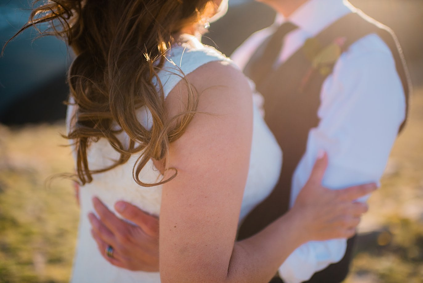 bride and groom first dance at Rocky Mountain National Park elopement by Boulder elopement photographer Jennie Crate