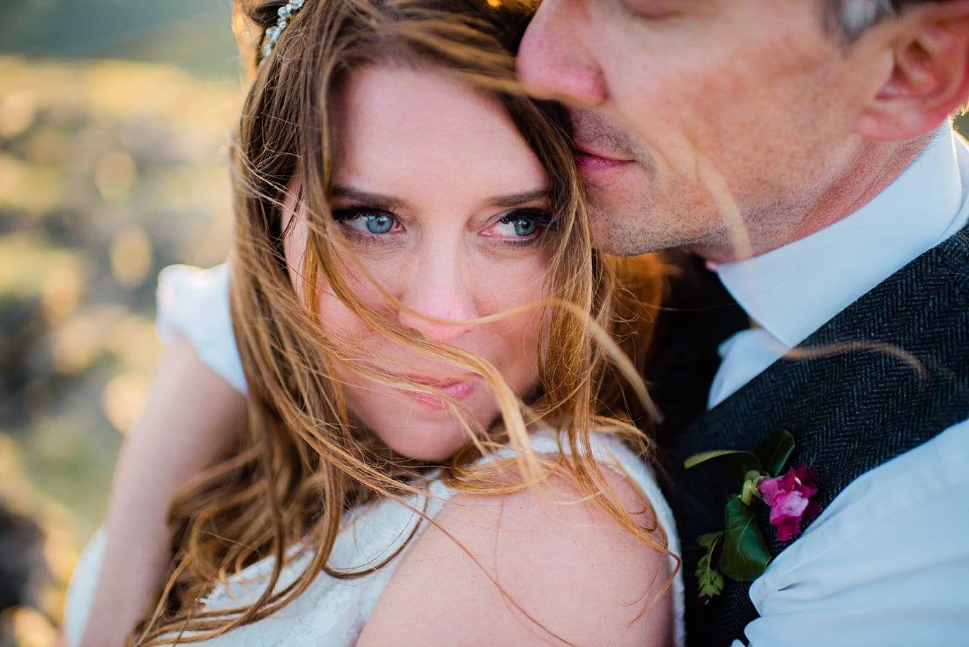romantic intimate bride and groom wedding day portrait at Rocky Mountain National Park elopement by Boulder elopement photographer Jennie Crate