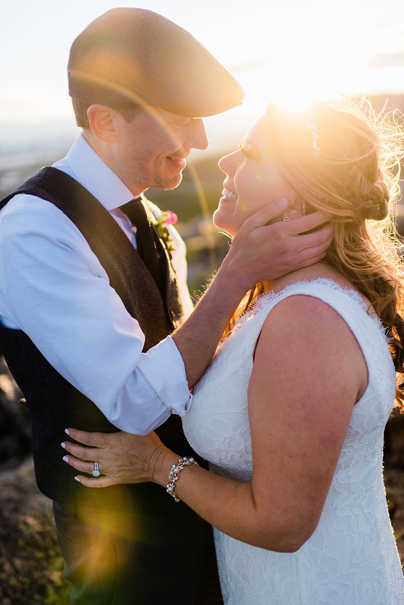 bride and groom at sunset at Rocky Mountain National Park elopement by Boulder elopement photographer Jennie Crate