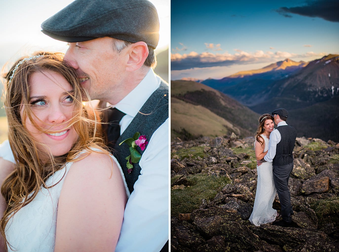 bride and groom sunset portrait at Rocky Mountain National Park elopement by Boulder elopement photographer Jennie Crate