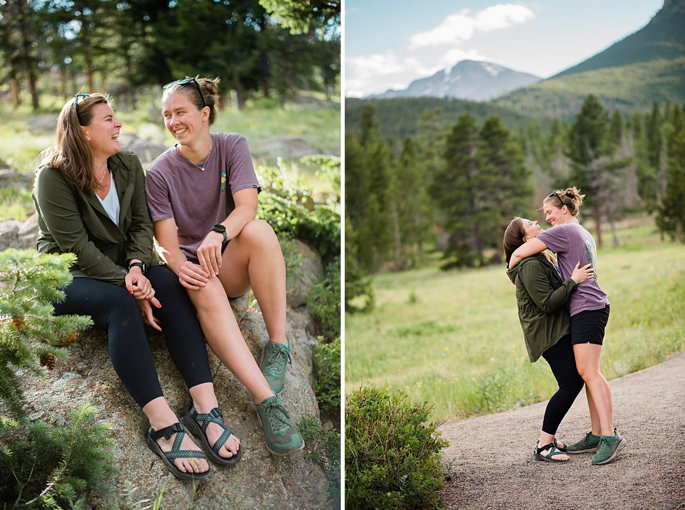 two brides hug and laugh after Estes Park Lily Lake by Estes Park wedding photographer Jennie Crate