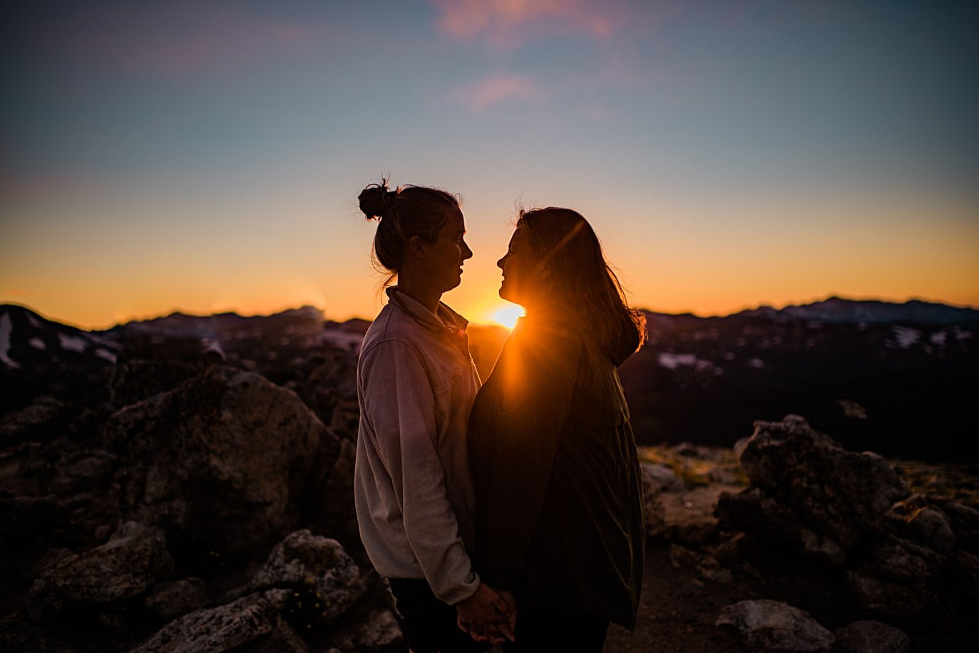romantic same-sex engagement at Rocky Mountain National Park engagement session by Colorado Gay Wedding photographer Jennie Crate