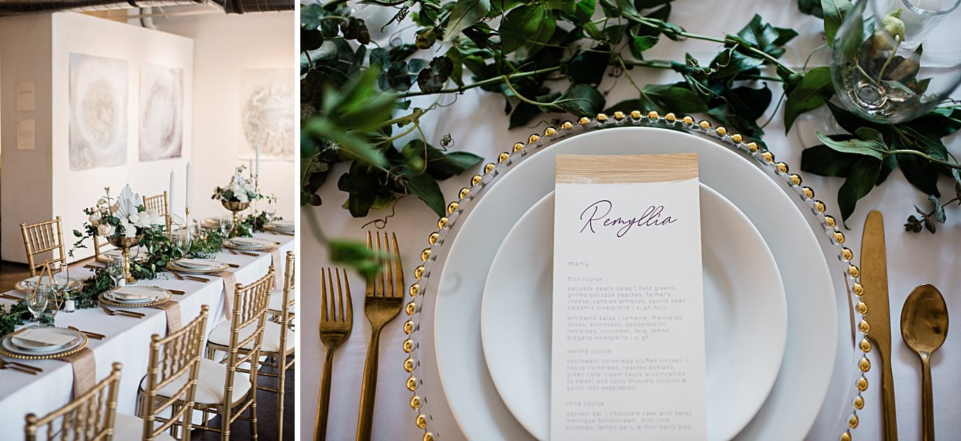 hand painted gold menu and gold place setting at Walker Fine Art Gallery Wedding by Denver Wedding Photographer Jennie Crate