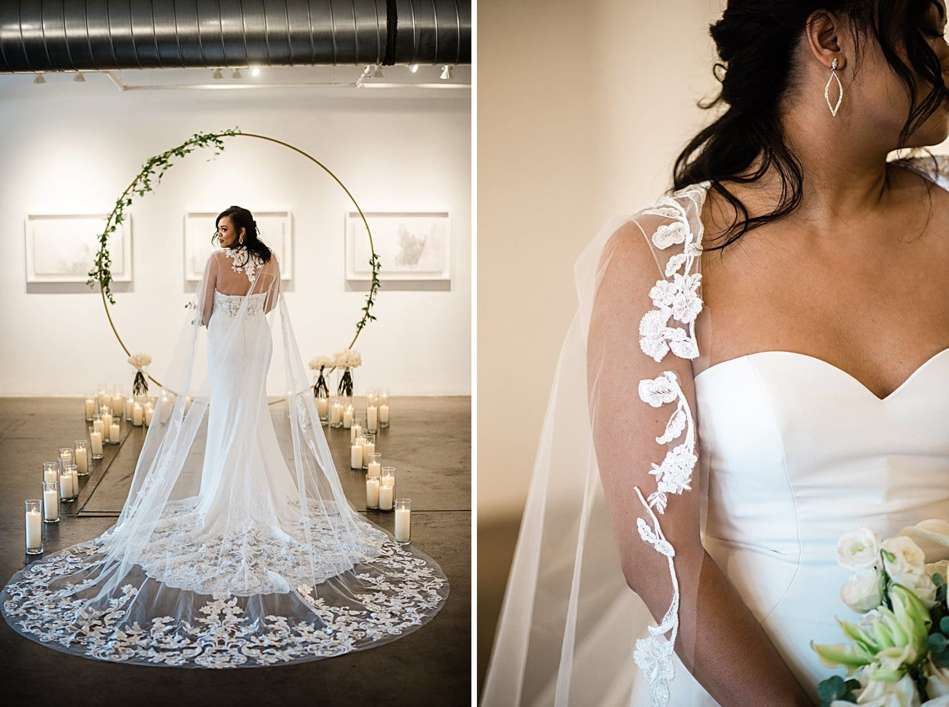 bride in lace cape at Walker Fine Art Gallery Wedding by Denver Wedding Photographer Jennie Crate