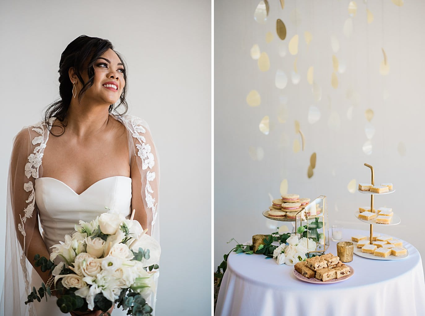 bride with neutral flowers and lace wedding cape at Walker Fine Art Gallery Wedding by Denver Wedding Photographer Jennie Crate