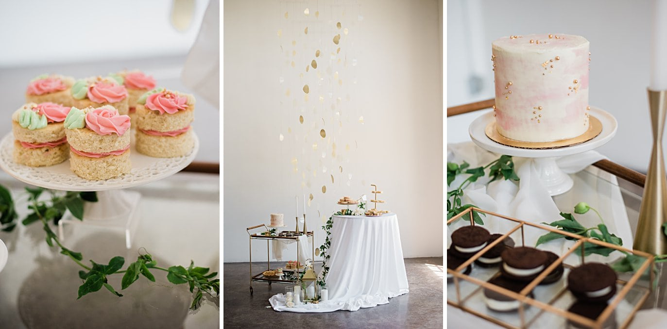 dessert set up with mini cakes and gold wedding cake at Walker Fine Art Gallery Wedding by Denver Wedding Photographer Jennie Crate