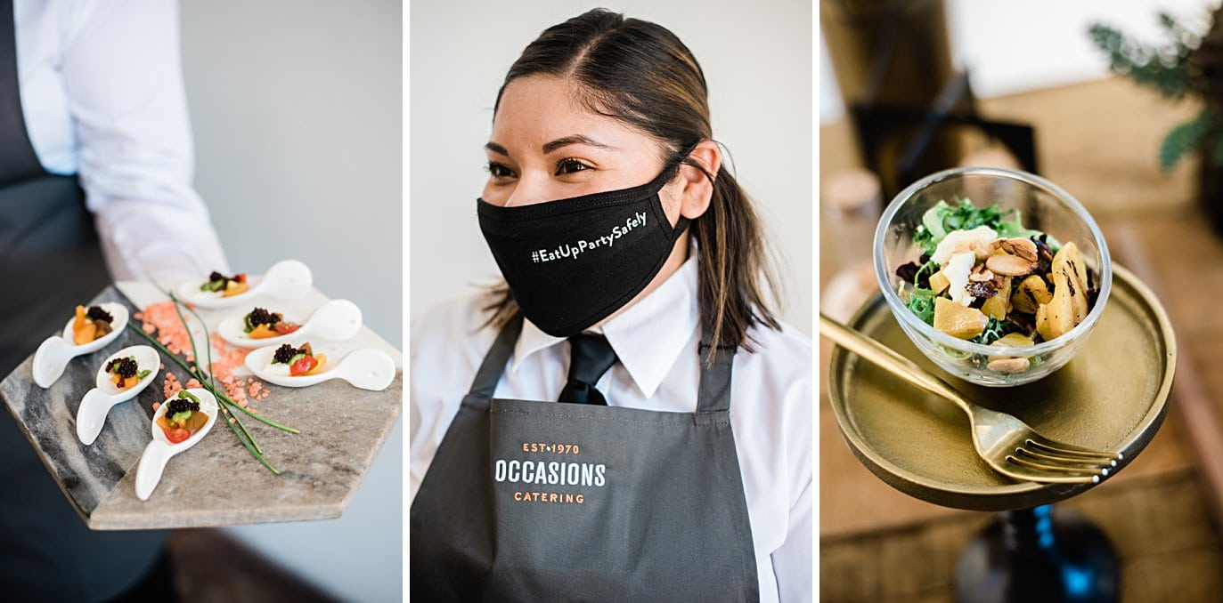 Occasions catering with new masks for events at Walker Fine Art Gallery Wedding by Denver Wedding Photographer Jennie Crate