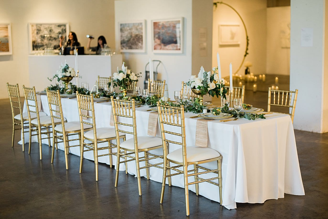 gold chairs and modern wedding inspiration for head table at Walker Fine Art Gallery Wedding by Denver Wedding Photographer Jennie Crate