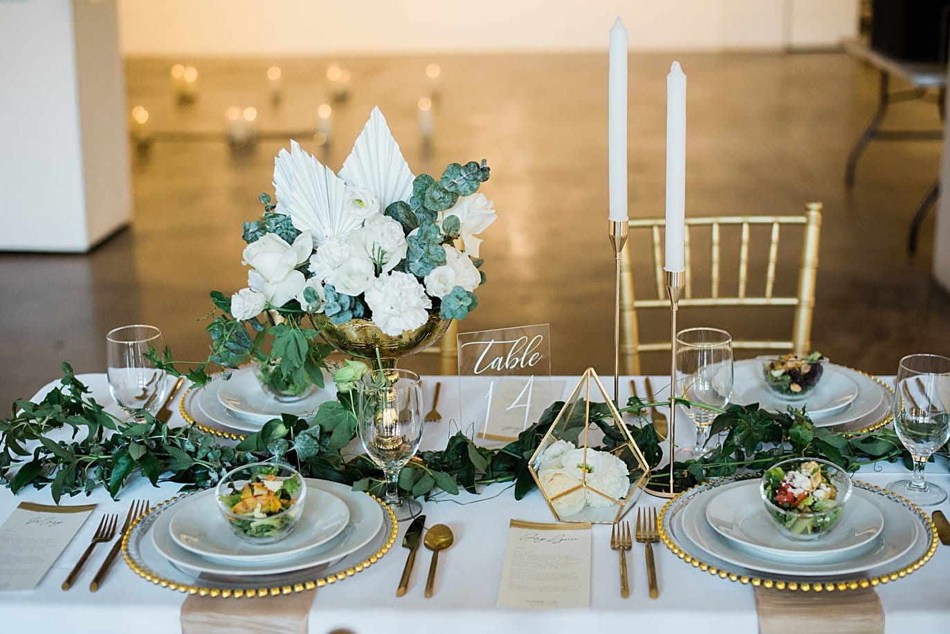 white flower and painted fern centerpieces at Walker Fine Art Gallery Wedding by Denver Wedding Photographer Jennie Crate