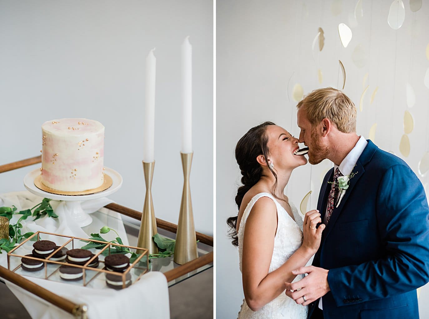 bride and groom cookie kiss at Walker Fine Art Gallery Wedding by Boulder Wedding Photographer Jennie Crate